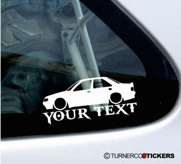 2x Custom YOUR TEXT Lowered car stickers - Peugeot 405 Mi16 16v saloon ,SRi, GRi, GR
